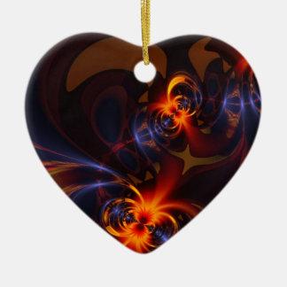 Ojos y remolinos - placer del ámbar y del añil adorno de cerámica en forma de corazón