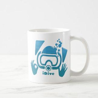 OK iDive Beveled Blu Scuba Classic White Coffee Mug