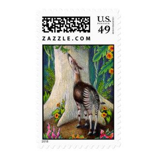 Okapi en selva tropical sellos