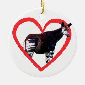 Okapi Heart Double-Sided Ceramic Round Christmas Ornament