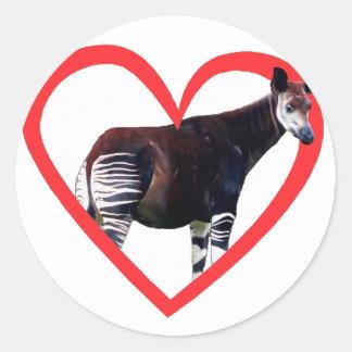 Okapi Heart Classic Round Sticker