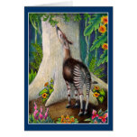 Okapi lindo en tarjeta del saludo o de nota de la