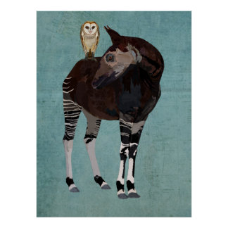 OKAPI & OWL BLUE Art Poster