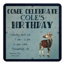 OKAPI & OWL STAR  Birthday Invitation