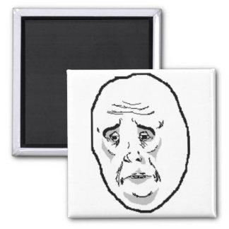 Okay Guy Face 2 Inch Square Magnet
