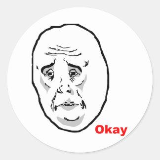 Okay Guy Rage Face Meme Classic Round Sticker