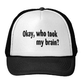 Okay Who Took My Brain Trucker Hat