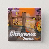 Okayama Japanese blossom poster. Button