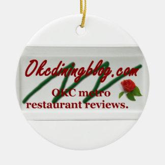 OKCdiningblog.com design 1 Double-Sided Ceramic Round Christmas Ornament