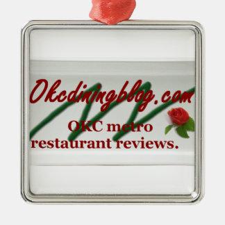 OKCdiningblog.com design 1 Square Metal Christmas Ornament