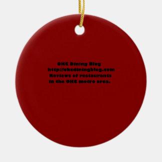 OKCdiningblog.com design 2 Double-Sided Ceramic Round Christmas Ornament