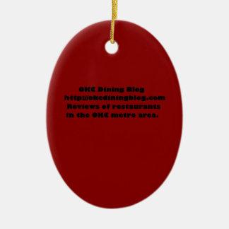 OKCdiningblog.com design 2 Double-Sided Oval Ceramic Christmas Ornament