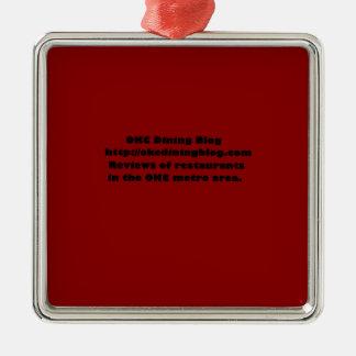 OKCdiningblog.com design 2 Square Metal Christmas Ornament