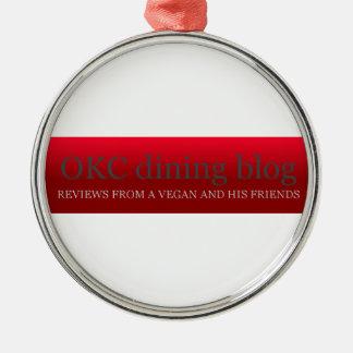 OKCdiningblog.com design 3 Round Metal Christmas Ornament