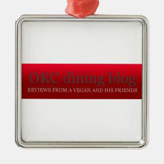 OKCdiningblog.com design 3 Square Metal Christmas Ornament