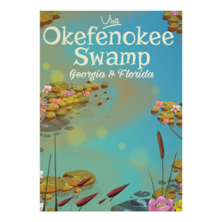 Okefenokee Swamp cartoon travel poster