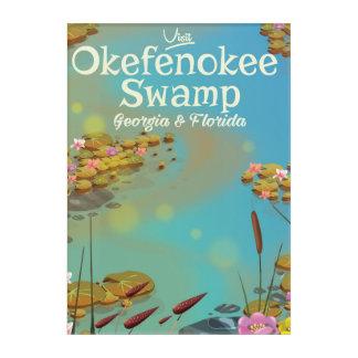 Okefenokee Swamp cartoon travel poster Acrylic Print
