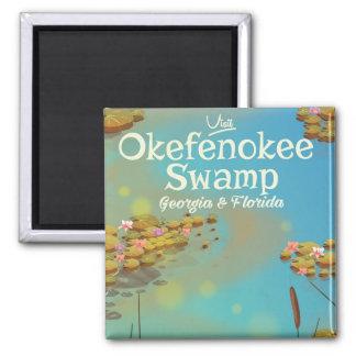 Okefenokee Swamp cartoon travel poster Magnet