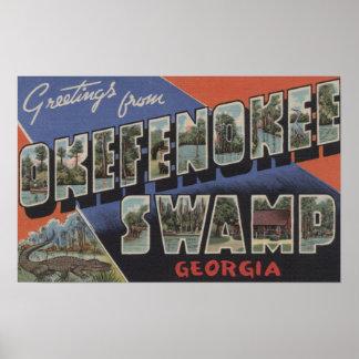 Okefenokee Swamp, Georgia - Large Letter Scenes Print