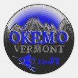 Okemo Vermont blue gray ski art stickers