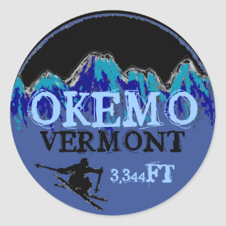 Okemo Vermont blue ski art elevation stickers