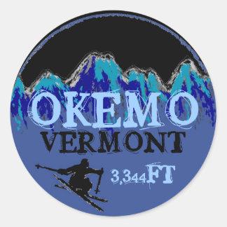 Okemo Vermont blue ski art elevation stickers