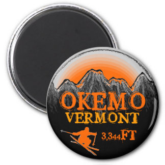 Okemo Vermont orange ski art elevation magnet