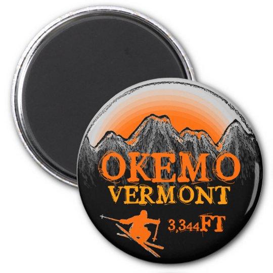 Okemo Vermont orange ski art elevation magnet