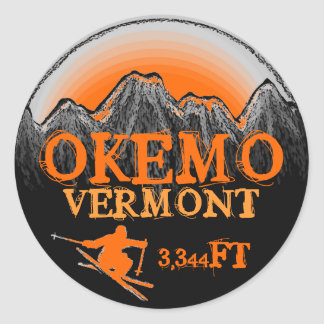 Okemo Vermont orange ski art elevation stickers