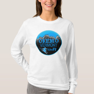 Okemo Vermont teal ski art elevation hoodie