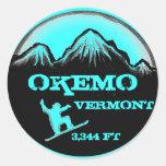 Okemo Vermont teal snowboard art stickers