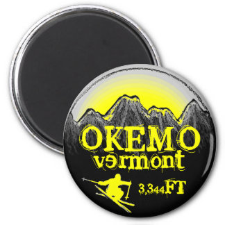 Okemo Vermont yellow ski art elevation magnet