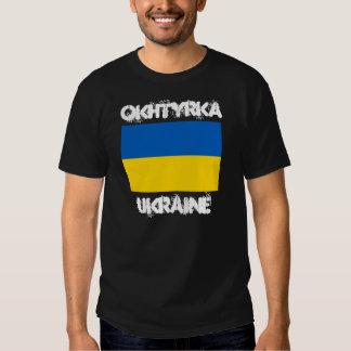 Okhtyrka, Ukraine with Ukrainian flag T-shirt