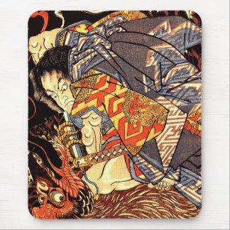 Oki no Jiro Hiroari killing a monstrous tengu Mouse Pad
