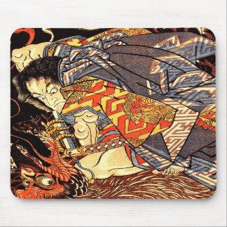 Oki no Jiro Hiroari killing a monstrous tengu Mouse Mat