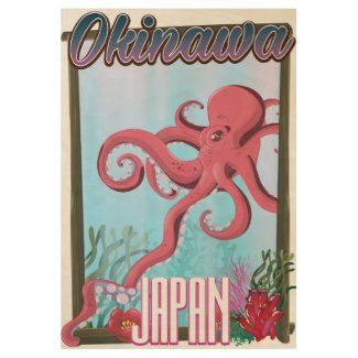 Okinawa Japan Squid travel poster