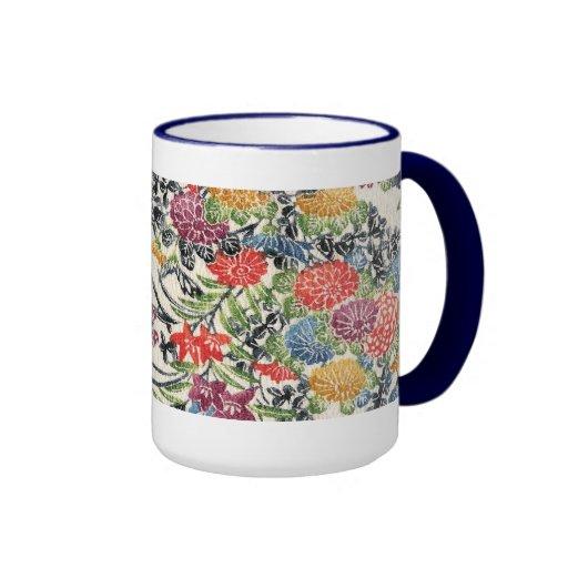 Okinawan Bingata Textile Ringer Coffee Mug