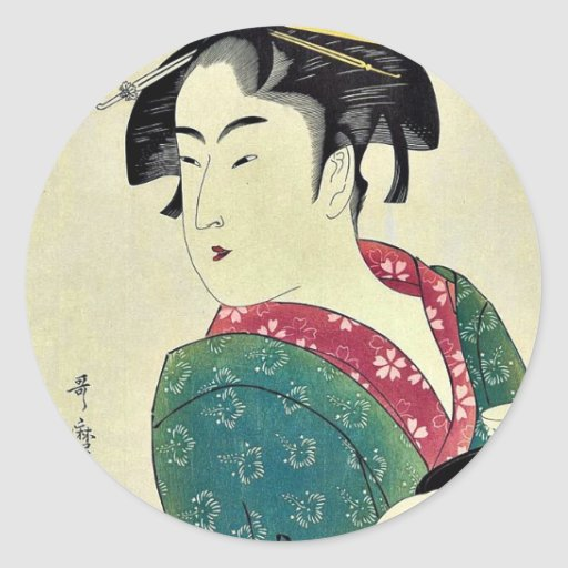Okita del ya por Kitagawa, Utamaro Ukiyoe de Naniw Pegatinas Redondas