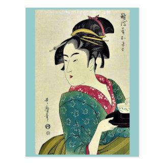 Okita del ya por Kitagawa, Utamaro Ukiyoe de Naniw Postal