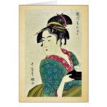 Okita del ya por Kitagawa, Utamaro Ukiyoe de Naniw Tarjeton