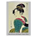 Okita del ya por Kitagawa, Utamaro Ukiyoe de Naniw Felicitación