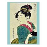 Okita del ya por Kitagawa, Utamaro Ukiyoe de Naniw Tarjetas Postales