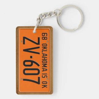 Oklahoma 1968 Vintage License Plate Keychain Rectangle Acrylic Keychain