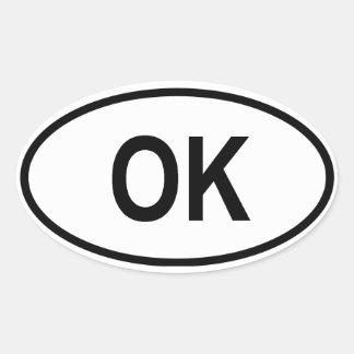 """Oklahoma """"ACEPTABLE """" Pegatina Ovalada"""