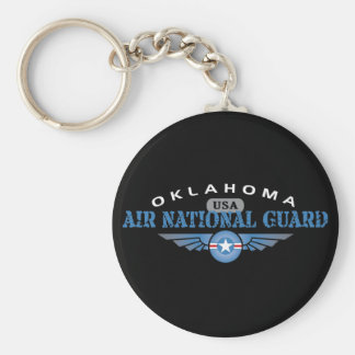 Oklahoma Air National Guard Basic Round Button Keychain