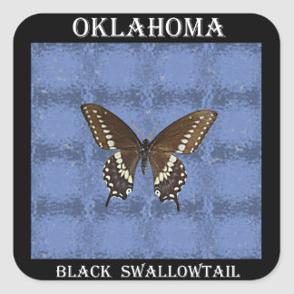 Oklahoma Black Swallowtail Butterfly Square Sticker