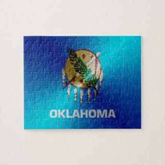 Oklahoma brushed metal flag jigsaw puzzle