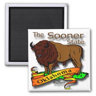 Oklahoma Buffalo Sooner State 2 2 Inch Square Magnet
