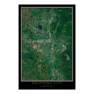 Oklahoma City From Space Satellite Art Poster