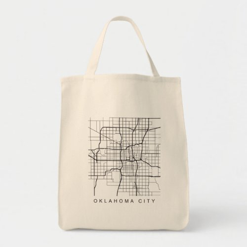 Oklahoma City Minimalist City Street Map Dark Tote Bag